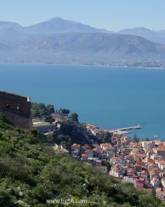 View of the old town of #Nafplio from Leonidas bastion in #Palamidi castle - #Peloponnese, #Greece