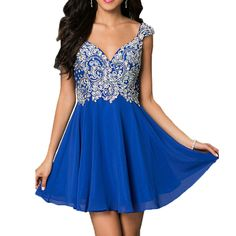 Short Royal Blue Prom Dresses with V Neck Beaded Chiffon Backless 2016 Homecoming Dresses for Party Mini Prom Gowns Beaded