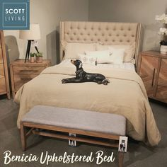 Our Scott Living Benicia Upholstered Bed Looks Even Better In Our Showroom!  (Item#