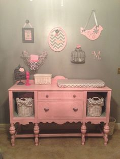 pink and grey nursery with revamped dresser into changing table!
