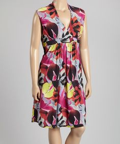 This Pink & Purple Tropical Empire-Waist Dress - Plus is perfect! #zulilyfinds