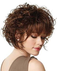 short curly hair with side bangs - Google Search