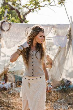 AMBER LINEN VEST - Long - Boho Steampunk Burning man Hippie Bohemian Tribal Plus…