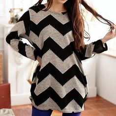 Casual Long Sleeve Round Neck Wavy Line Print Women's T-Shirt, GARY AND BLACK, L in Tees & T-Shirts | DressLily.com