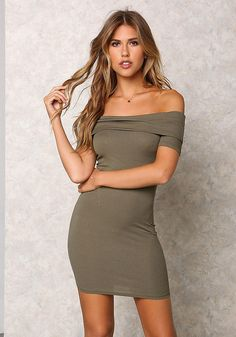 b040204f153bd Fierce ribbed knit dress with a fold over off shoulder top and short  sleeves. Form fitting with above the knee length. Style with a statement  necklace or ...
