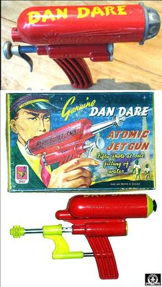 Space Guns - DAN DARE ATOMIC JET GUN - DCMT - ENGLAND - ALPHADROME ROBOT AND SPACE TOY DATABASE
