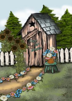 Pictures of Out Houses to Print | Men's Outhouse Print ~ Original Digital Art by Cherie