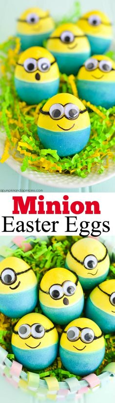 Dyed Minion Easter Eggs - how to make dyed Minions Easter eggs with eyes, string and a black marker.