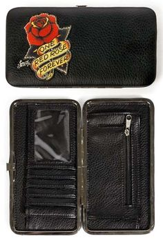 One Red Rose Hinge Wallet by Sailor Jerry