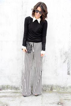 I like the floor length wide-leg trousers