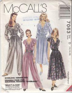 Draped JUMPSUIT Pattern Romantic DRESS Pattern 90s by HoneymoonBus, $11.99