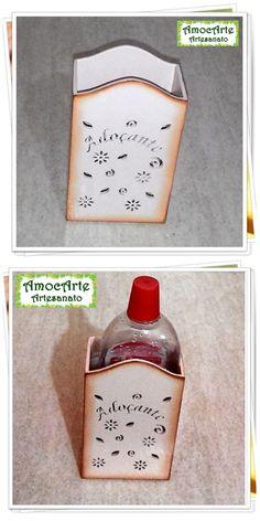 Porta adoçante madeira http://www.amocarte.blogspot.com.br/