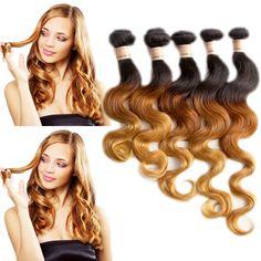 "US Local 12""14""16"" 3Bundles 1B/33/27# Brazilian Human Hair Extension Body Wave #HairExtension"