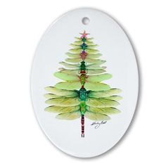 Dragonfly Oval Ornament for