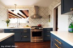 Kitchen Renovation - IKEA cabinets, Semihandmade DIY shaker doors lacquered in blue, Spanish-inspired tile