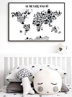 Dierenwereld kaart af te drukken, de kaart van de wereld van de Monochrome kwekerij, Oh de plaatsen u zult gaan, Kids wereld kaart Poster, zwart wit Scandinavische kwekerij Decor door PrintasticStudio op Etsy https://www.etsy.com/nl/listing/488694992/dierenwereld-kaart-af-te-drukken-de