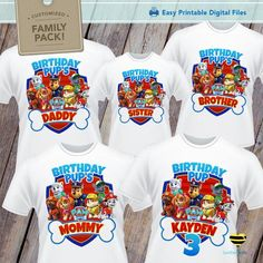 Paw Patrol Iron On Designs For Family Shirts Digital Graphics Only