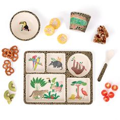 Love Mae designs vintage-inspired kids' bamboo dinner sets, fabric wall decals for the young and the young at heart. Motif Jungle, Divided Plates, Welcome To The Jungle, Babies First Christmas, 1st Christmas, Christmas Gift Guide, Dinner Sets, Inspiration For Kids, New Baby Gifts