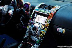 Sticker bomb interior wrap by Technotic Media Scion Xb, Sticker Bomb, Car Goals, Unique Cars, Cute Cars, Car Tuning, Car Wrap, Car Stickers, Car Accessories