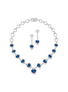 SAPPHIRE AND DIAMOND NECKLACE AND PAIR OF MATCHING EAR CLIPS