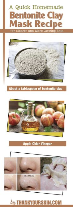 A Quick Homemade Bentonite Clay Mask Recipe for Clearer and More Glowing Skin. DIY Face mask for Blackheads #homemadefacemasksforblackheads