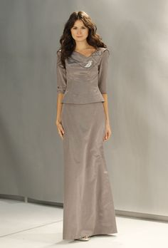 Brides: Collection 20 - Fall 2012. Style 1126, silk mother of the bride suit with three-quarter sleeves and a shawl collar, Collection 20