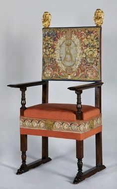 Chair upholstered with tapestry pieces from a set of Sigismundus Augustus by Brussels workshop after Cornelis Floris and Cornelis Bos, ca. 1555, chair by Anonymous from Italy, 16th century, Zamek Królewski na Wawelu