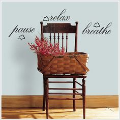 """Pause"" ""Relax"" ""Breathe"" removable decals for office makeover"