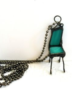 Chair Necklace Quirky Jewelry Soldered Sweetheart by Mystarrrs