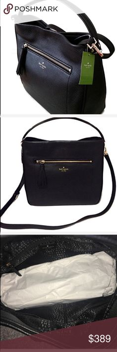 Kate Spade Michaela Bag Black Hobo NWT Kate Spade Michaela Bag Black Hobo NWT.   Beautiful black pebbled leather   12.5 x 11.5 approx.  NO TRADE kate spade Bags