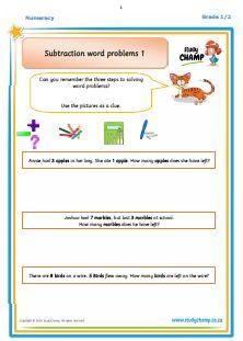 Worksheets - Grade 2 - Numeracy : Gr1/2 Understanding Subtraction Word Problems Numeracy, Word Problems, Grade 2, Worksheets, Words, Second Grade, Literacy Centers, Horse, Countertops