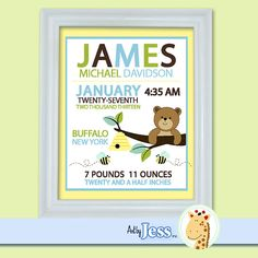 Honey Bear And Bumble Bee Birth Announcement Print   Baby Shower Birth  Print (Yellow/Brown/Blue)