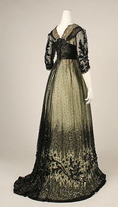 Ball gown Date: ca. 1908 Culture: American Medium: silk, cotton, glass, metallic thread Accession Number: 1979.326