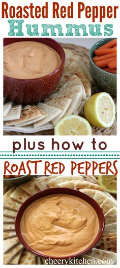 Snag the perfect lunch, Roasted Red Pepper Hummus is so easy and delicious! Learn how to roast your red peppers and have it on the table or in lunch bags in a flash!