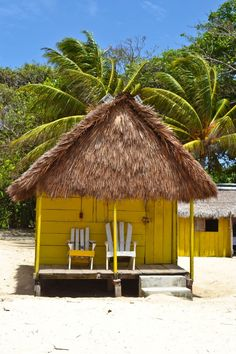 Colorful beach huts for rent on Little Corn Island, Nicaragua  #beach #travel #nicaragua #cornislands