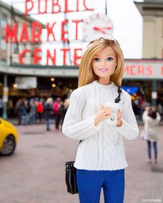 I've arrived in Seattle! Here for an exciting opening, but first, COFFEE. ☕️ #barbie #barbiestyle