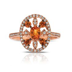 Marco Moore 14K Rose Gold Orange Sapphire and Diamond Cutout Ring