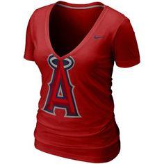 Nike Los Angeles Angels of Anaheim Ladies Deep V Burnout T-Shirt - Red