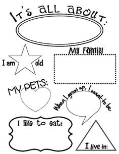 All About Me Worksheet. Teacher can fill it out or have child write their information individually.  Great for Back to School Night, Portfolios, All About Our Class Board.