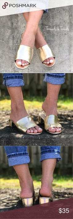 Metallic Gold Mules Silver Mule Sandals is the shoe to own this summer. These chic Mules can be styled for both casual and dressy moments. Wear them from brunch to dinner and everything in between.  Made of vegan leather. Shoes Mules & Clogs