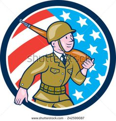 Illustration of a World War two American soldier serviceman marching with assault rifle viewed from side set inside circle with American Stars and stripes flag in the background done in cartoon style. Male Man, American Soldiers, Graphic Illustration, Retro Illustrations, Military Art, Cartoon Styles, World War Two, Royalty Free Images, Assault Rifle