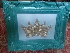 Princess Framed Pearl Crown Nursery or Little Girl Room Decor