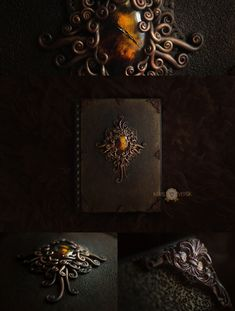 my polymer clay cover book, Victorian amber