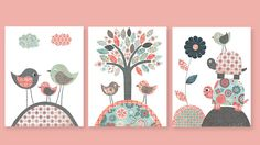 Girls Nursery Aqua Coral Gray Navy Bird Turtle Flower Tree Children's Room Decor Kids Playroom 8 x 10 or 11 x 14 Prints by SweetPeaNurseryArt on Etsy