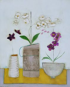 Irish art gallery showing works by artist Eithne Roberts E Flowers, Folk Art Flowers, Glass Flowers, Flower Art, Potted Flowers, Flower Shop Decor, Art Deco Coffee Table, Irish Art, Medium Art