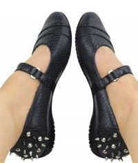 Charcoal Dragon Junior - Womens charcoal black snake and python studded mary jane flats shoes