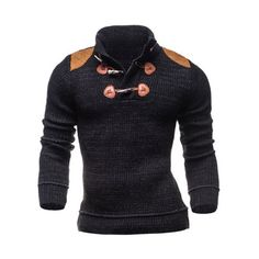 $22.57 Ribbed Shoulder Patch Claw Button Long Sleeve Sweater
