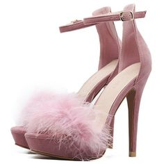 Pink Feather Embellished Ankle Strap Stiletto Velvet Sandals (€35) ❤ liked on Polyvore featuring shoes, sandals, heels, pink heeled shoes, ankle strap heel sandals, heeled sandals, feather sandals and pink stilettos