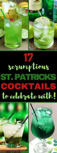 Patrick's Day cocktails and St. Paddy's Day drink recipes for your party or pub crawl. Patty's Day alcoholic drinks to celebrate your Irish side. St Patty's Day Drinks, St Patrick's Day Cocktails, St Patricks Day Drinks, St Patricks Day Food, Holiday Drinks, Party Drinks, Saint Patricks, Fun Drinks, Green Alcoholic Drinks
