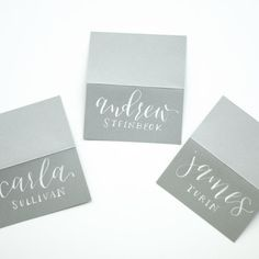 Wedding Escort Cards | Grey and White | Calligraphy & Lettering | Flat or…